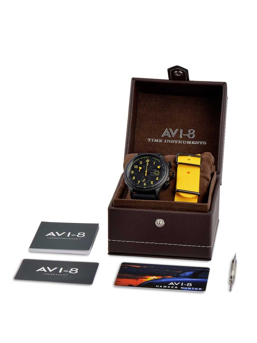 ceas barbatesc avi-8 av-4036-01 hawker hunter chrono 45mm 5atm