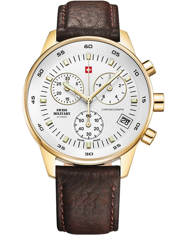Ceas barbatesc Swiss Military SM30052.05 Cronograf gold 40mm 5ATM