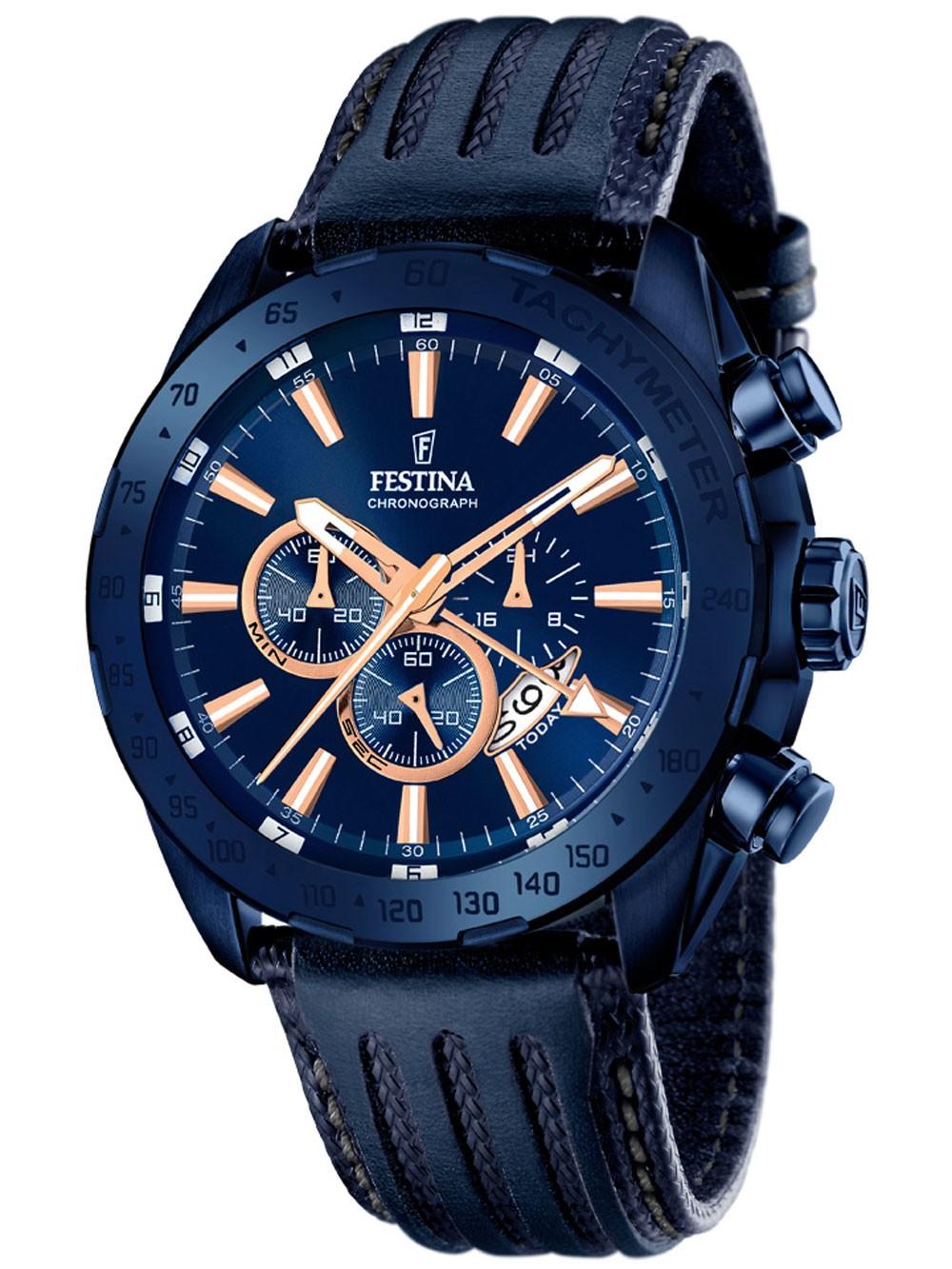 ceas barbatesc festina f16898/1 dual-time cronograf 44mm 10atm