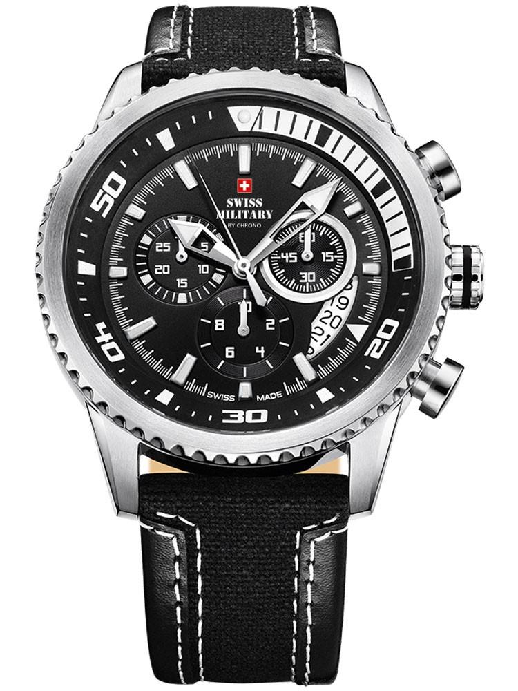 ceas barbatesc swiss military sm34042.05 cronograf 10 atm, 44 mm