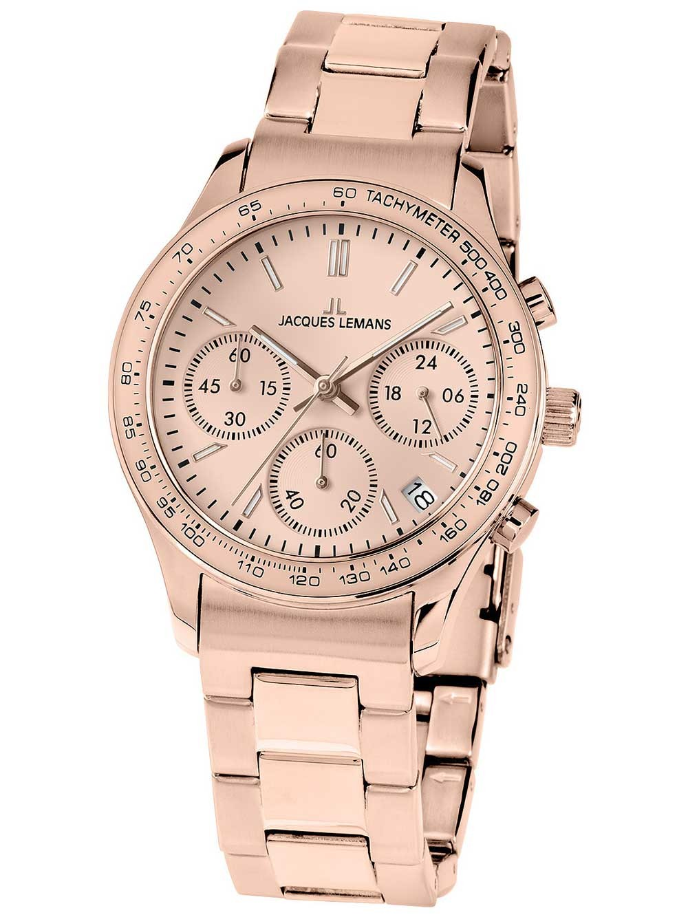 ceas de dama jacques lemans 1-1587zk rome chronograph 37mm 10atm