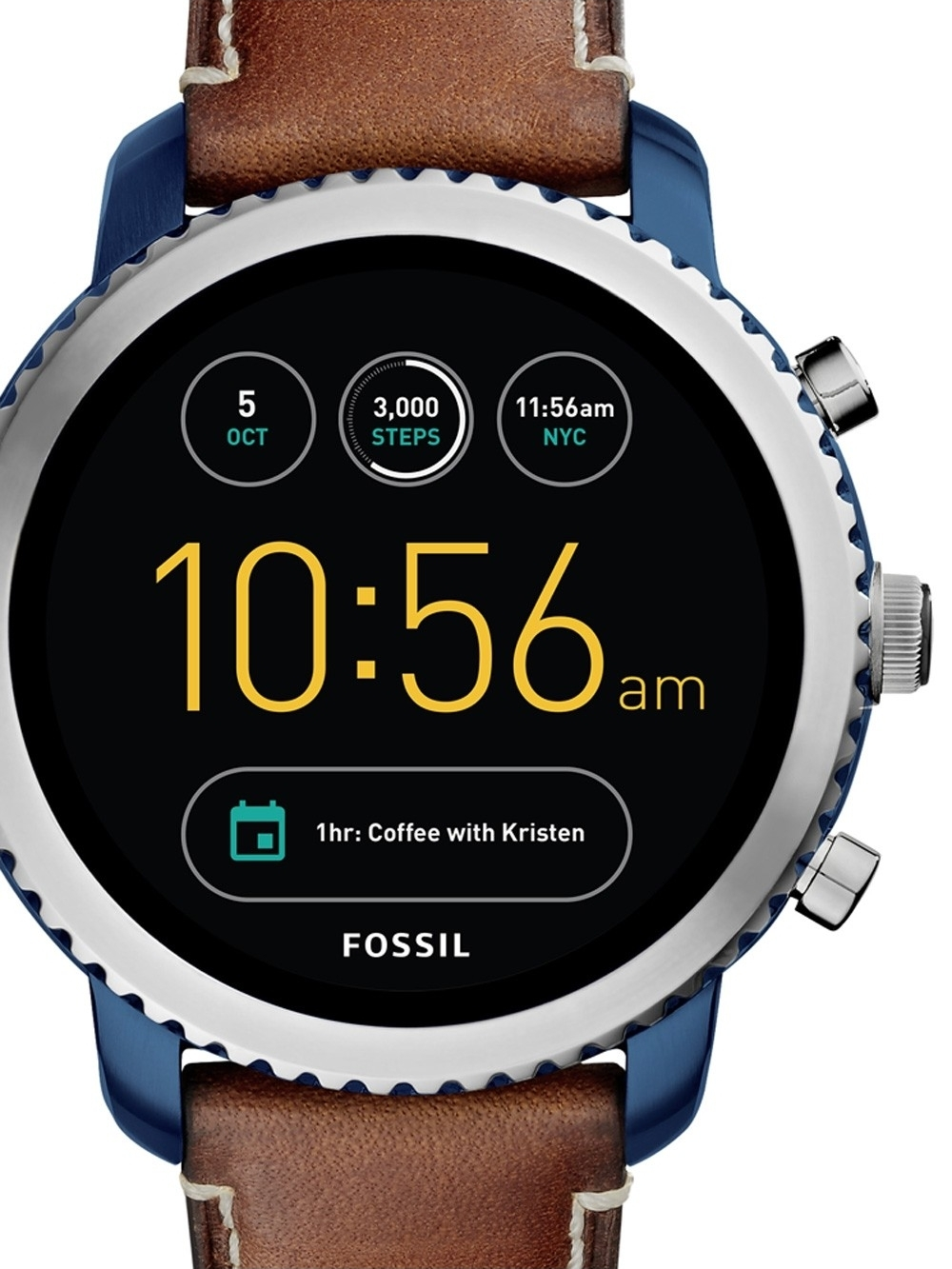 ceas barbatesc fossil q ftw4004 explorist smartwatch 46mm 3atm