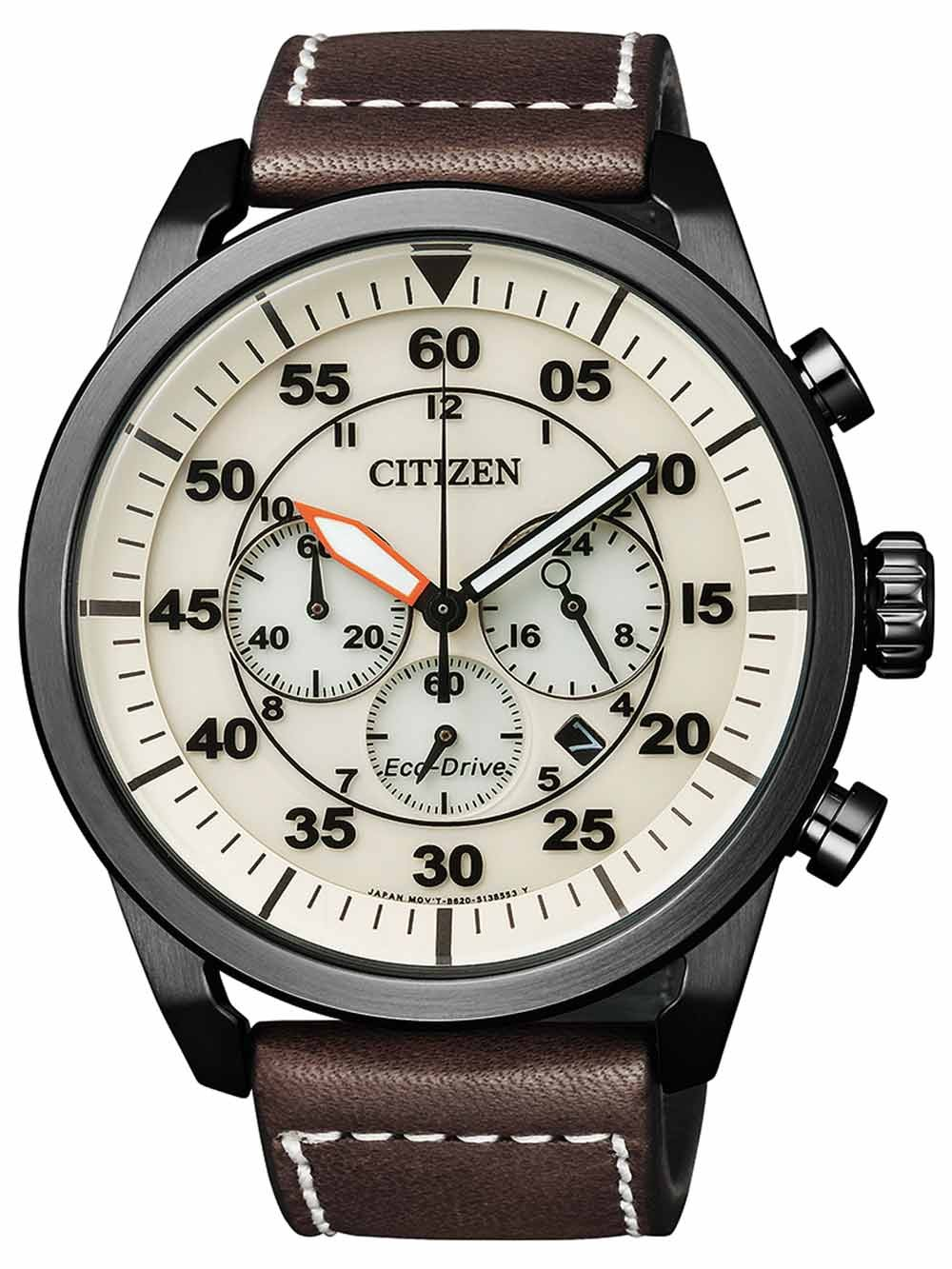 ceas barbatesc citizen eco-drive ca4215-04w chrono 45mm 100m