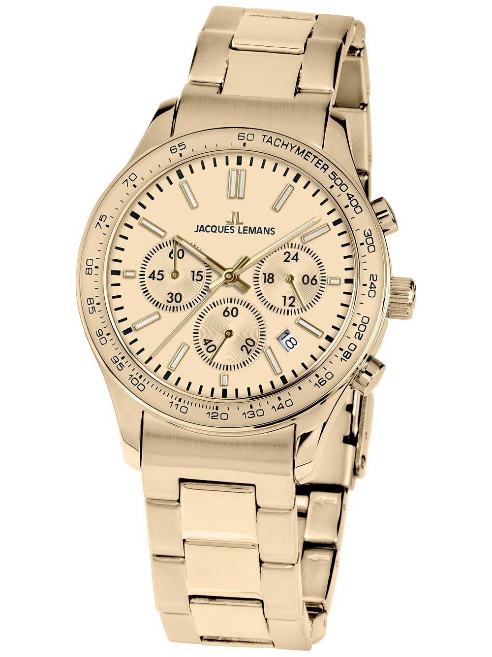 ceas de dama jacques lemans 1-1586zn rome chronograph 44mm 10atm
