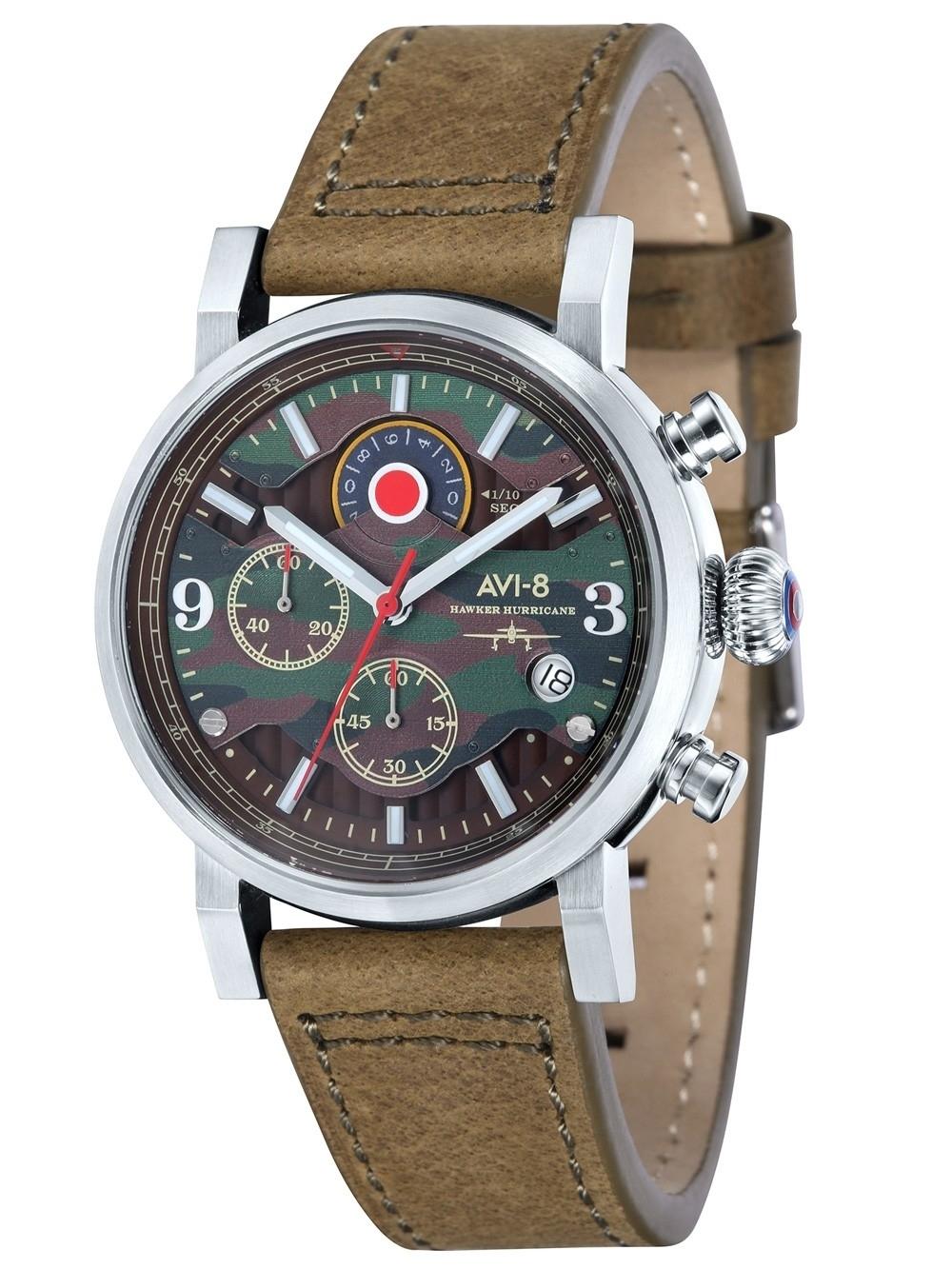 ceas barbatesc avi-8 av-4041-06 hawker hurricane chrono. 43mm 5atm