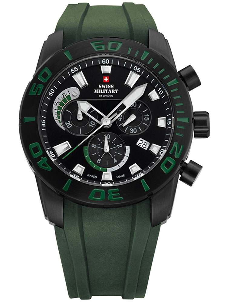 ceas barbatesc swiss military sm34031.03 cronograf 10 atm, 44 mm