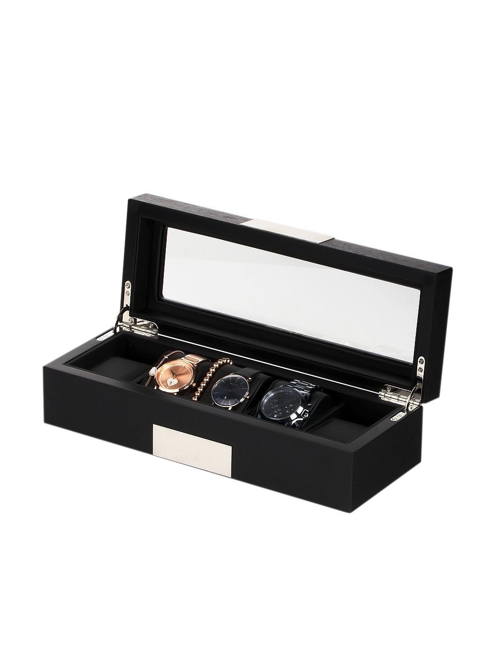 rothenschild uhrenbox rs-2350-5bl für 5 uhren black