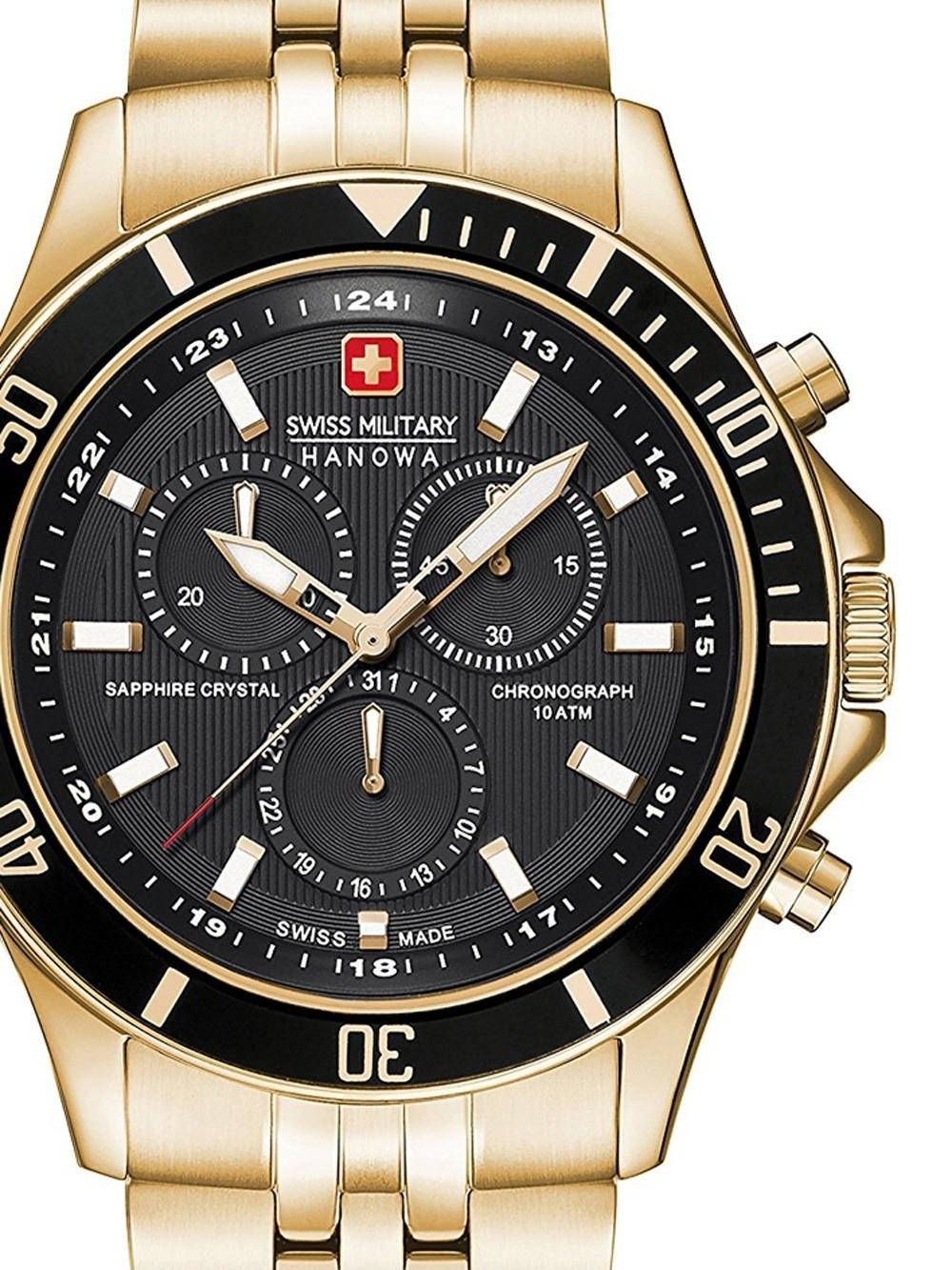 ceas barbatesc swiss military hanowa 06-5183.7.02.007 flagship chrono 42mm 10atm