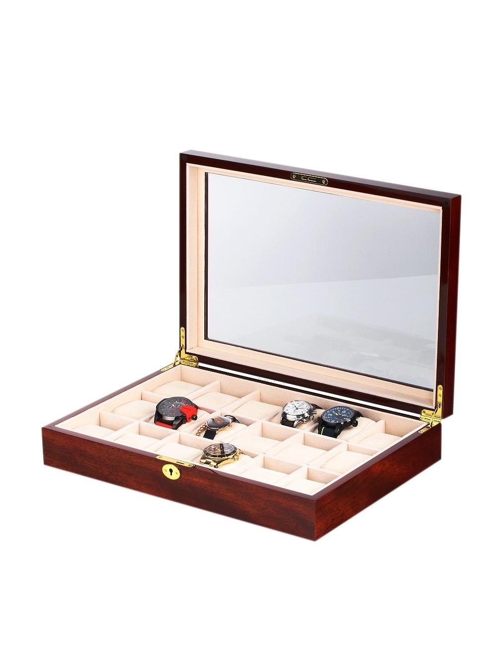 rothenschild uhrenbox rs-1087-18c für 18 uhren cherry
