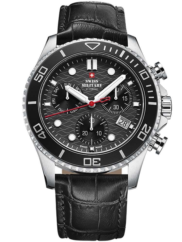 ceas barbatesc swiss military sm34051.04 cronograf 46mm 10atm