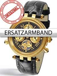 Curea de ceas Perigaum in schwarz fur Millennium DAU P-0606-GS Goldschließe
