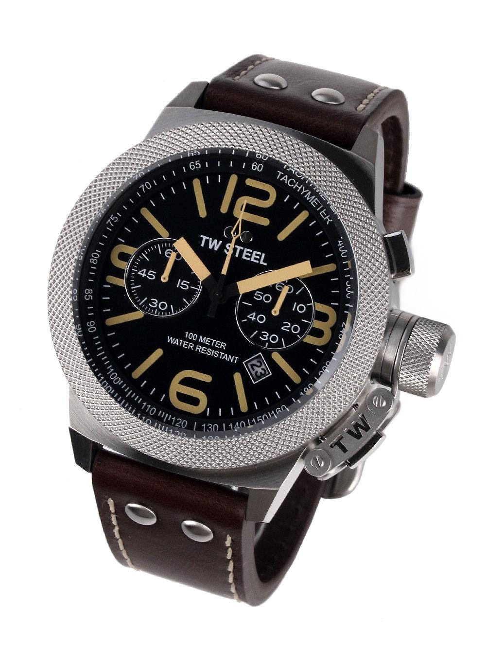 ceas barbatesc tw-steel cs34 canteen cronograf 50mm 10atm