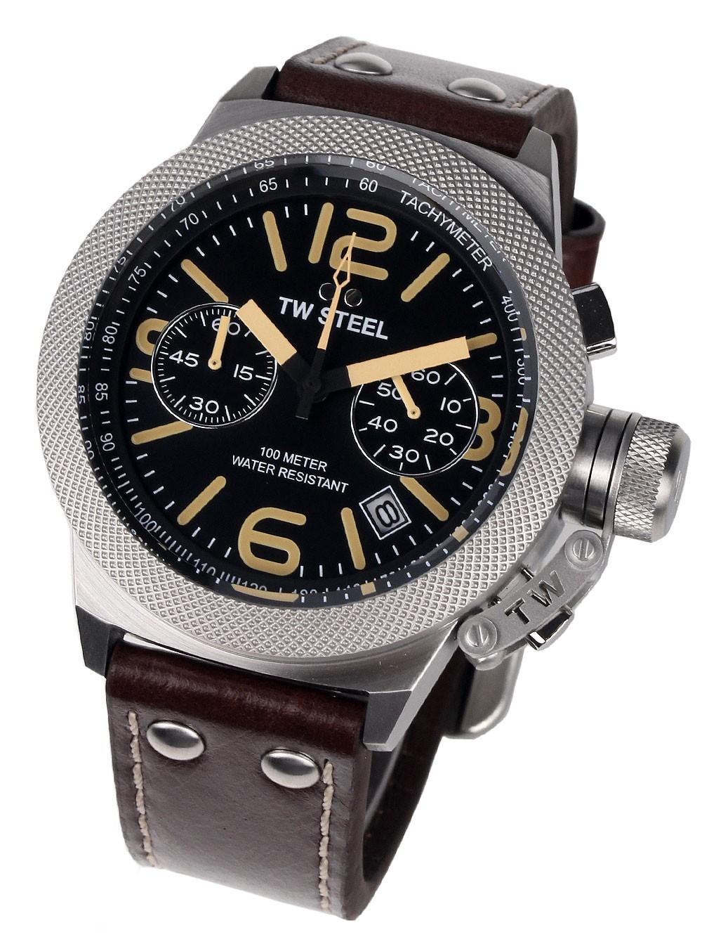 ceas barbatesc tw-steel cs33 canteen cronograf 45mm 10atm