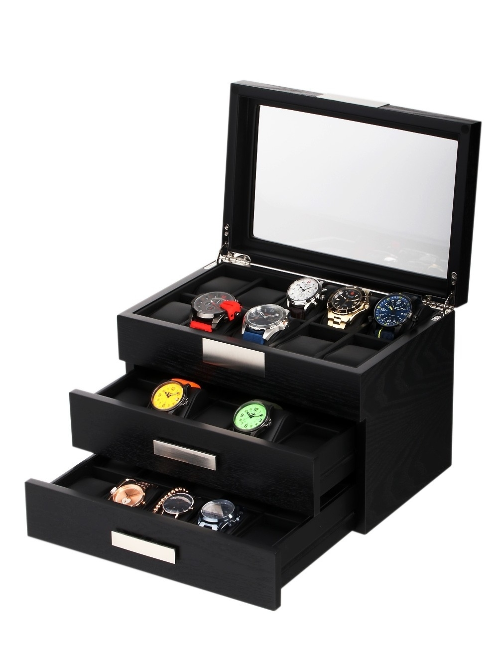 rothenschild uhrenbox rs-2350-30bl für 30 uhren black
