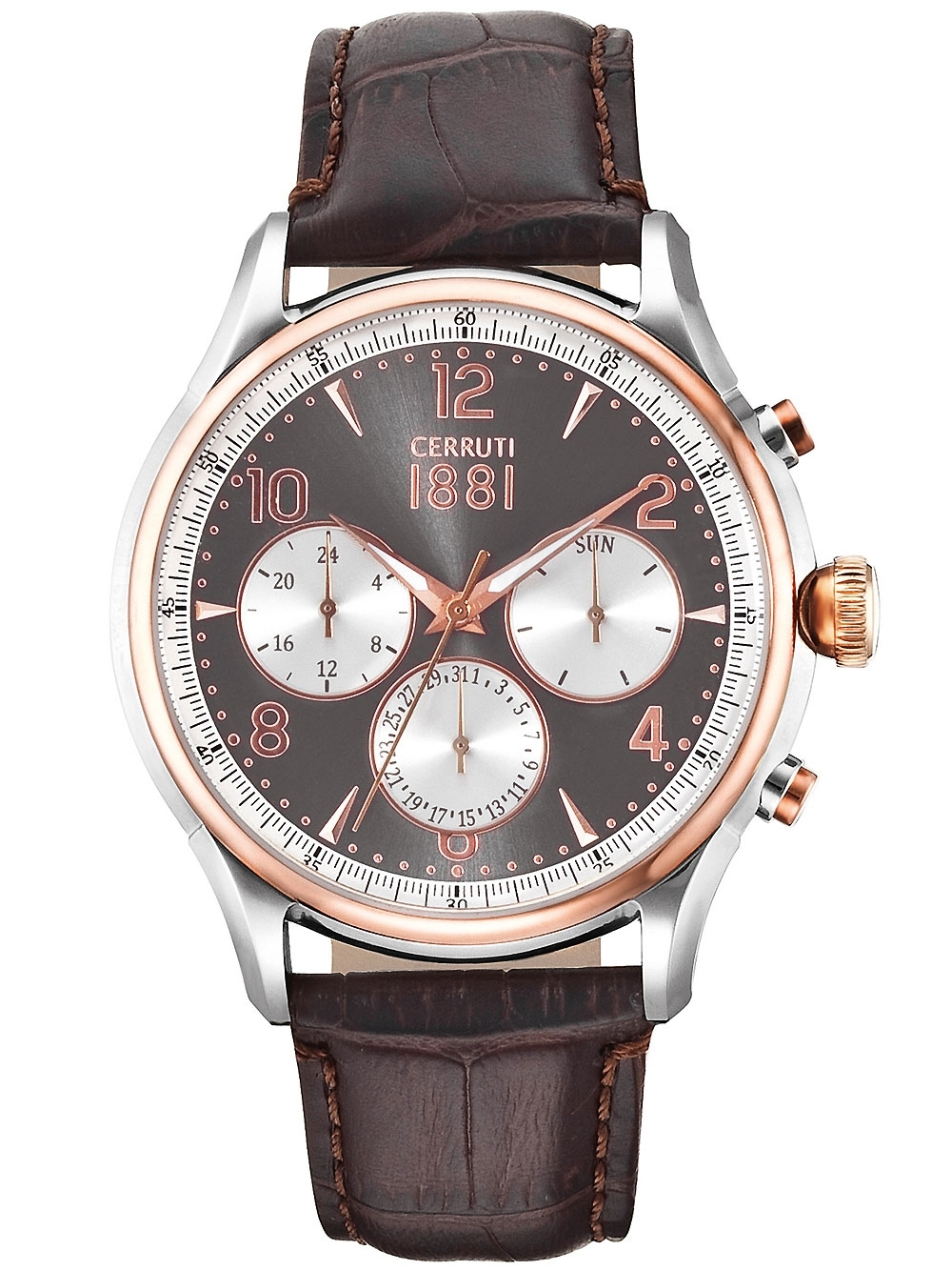 ceas barbatesc cerruti cra107str13br bellagio cronograf 44mm 5atm