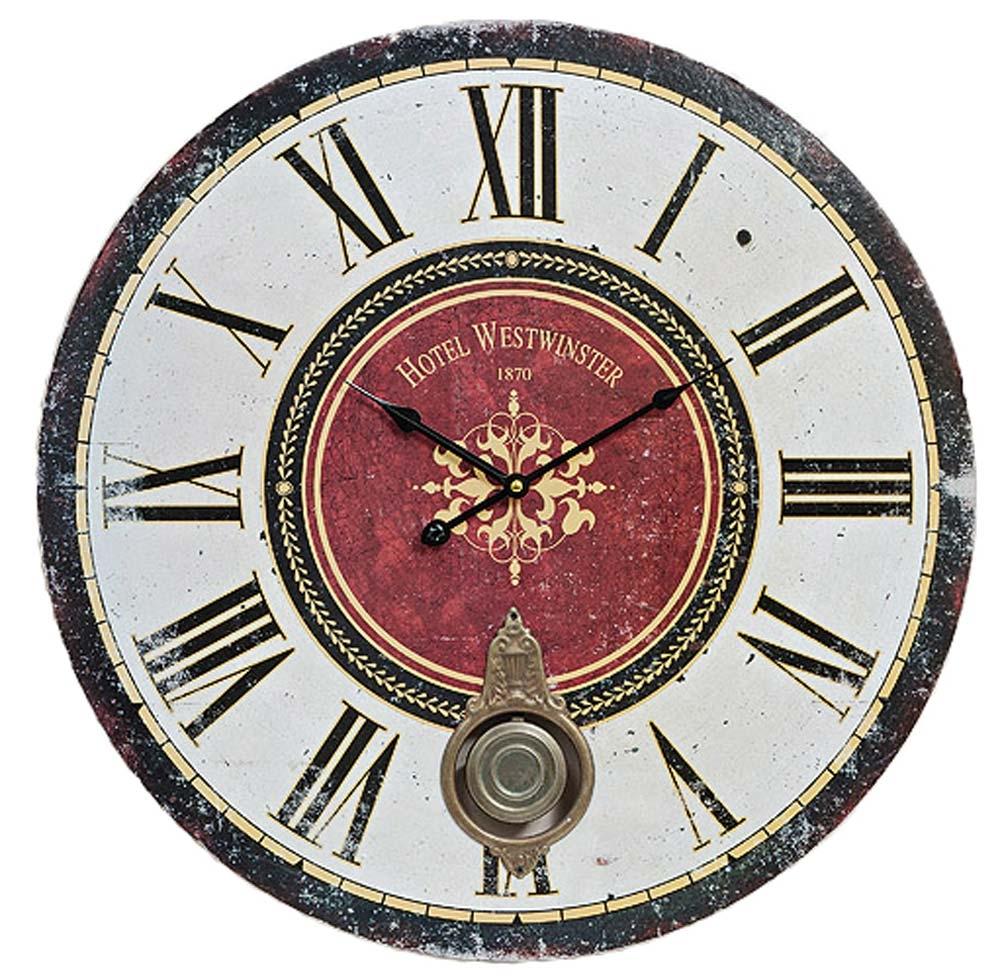 Antique HOME 14181 Wanduhr klassisch Vintage-Wanduhr Antik-Optik XXL-Uhr mit Pendel