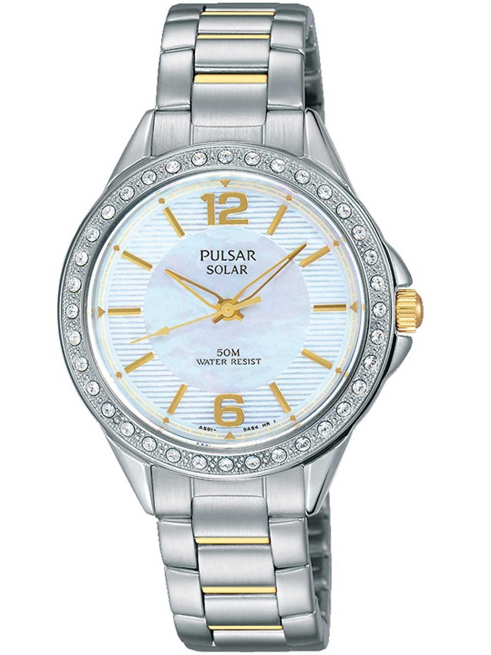 ceas de dama pulsar py5011x1 solar swarovski 32mm 5atm