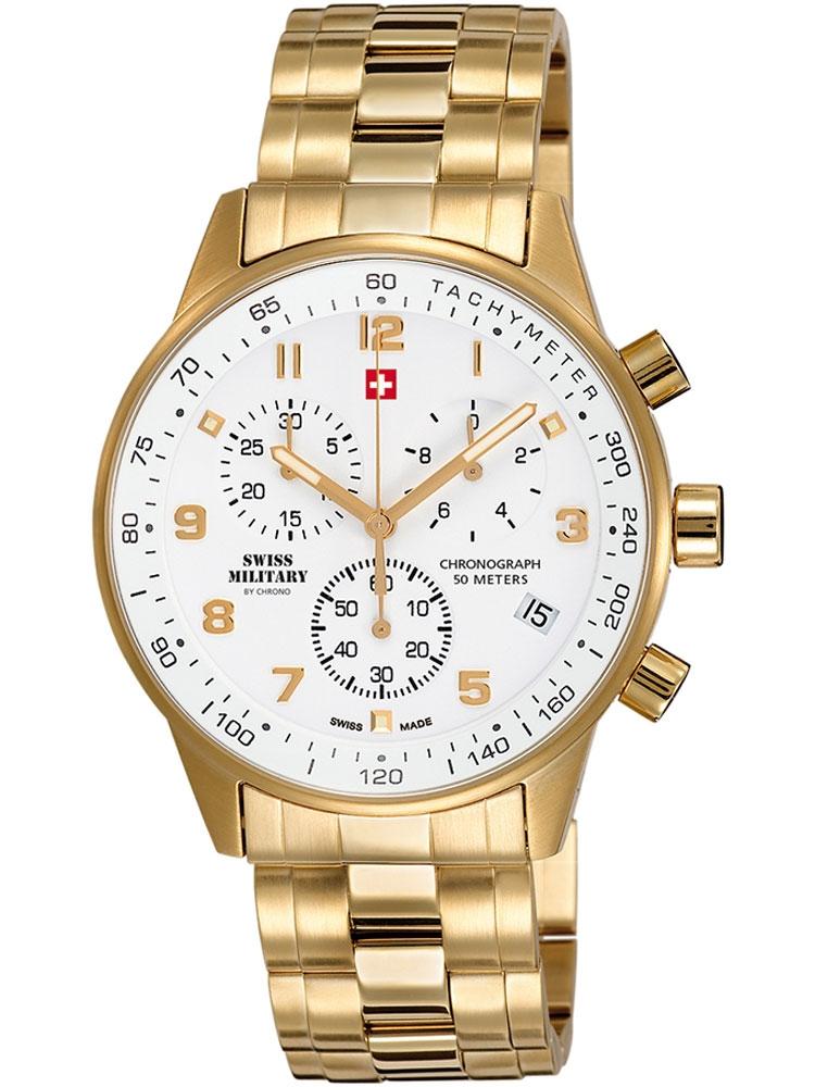 ceas barbatesc swiss military sm34012.03 cronograf 5 atm, 41 mm