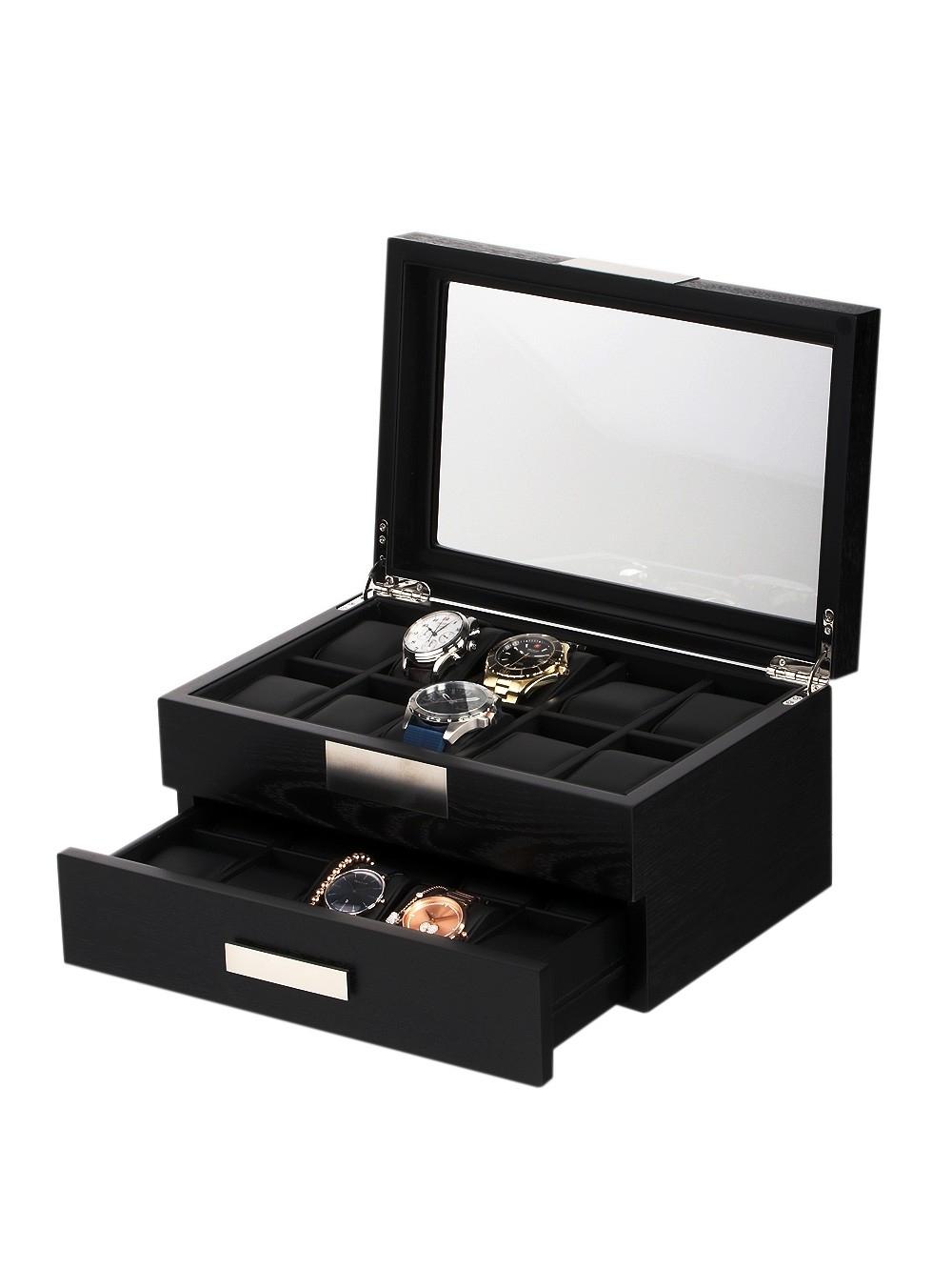 rothenschild uhrenbox rs-2350-20bl für 20 uhren black
