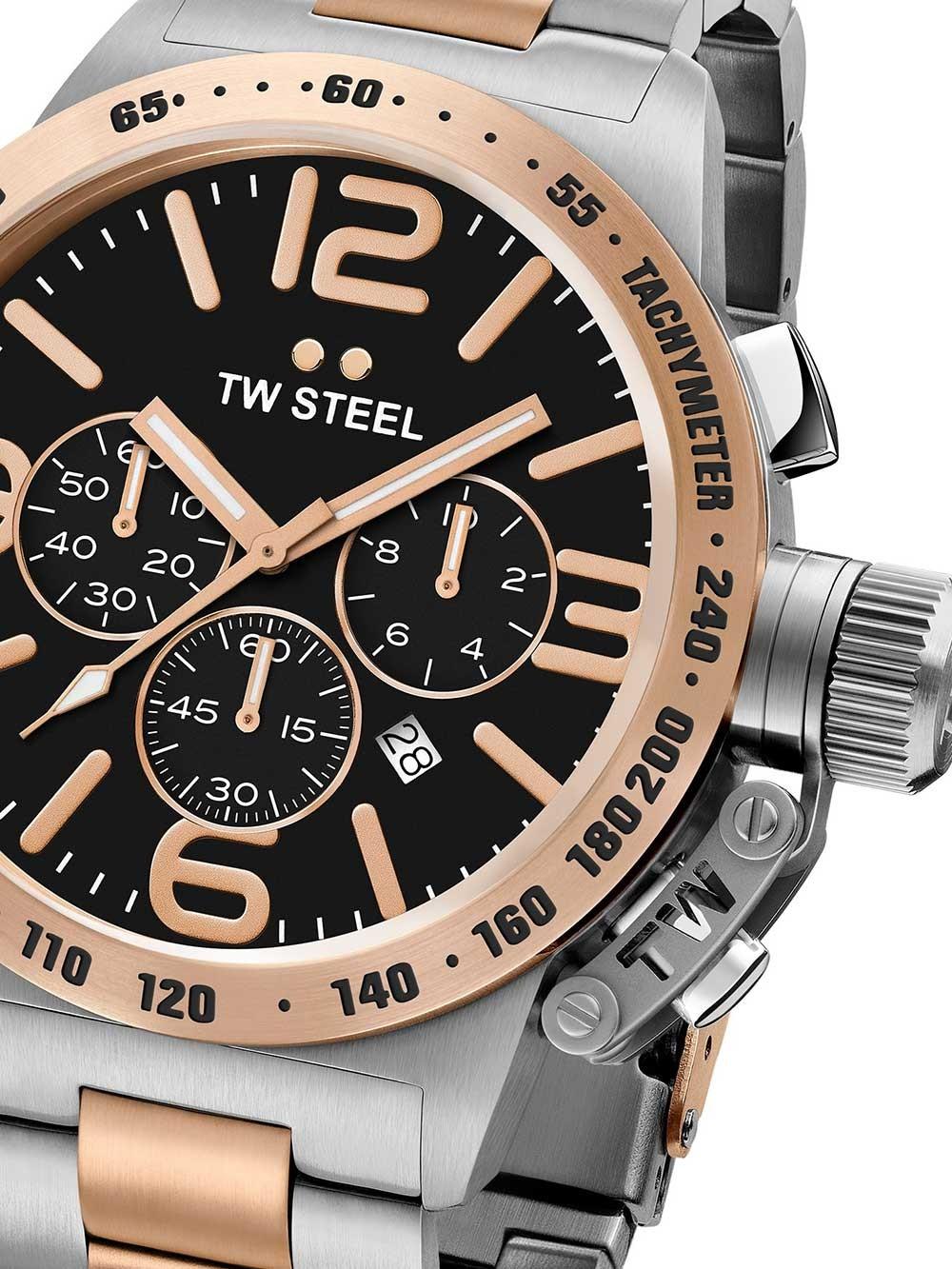 ceas barbatesc tw-steel cb134 canteen bracelet cronograf 50mm 10atm