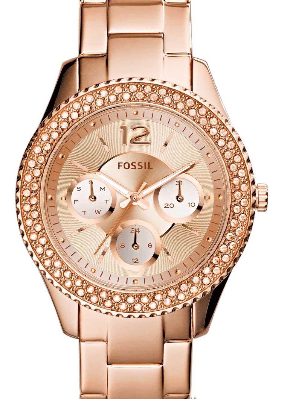 watches chrono12 fossil es3590 stella damen 38mm 5atm. Black Bedroom Furniture Sets. Home Design Ideas