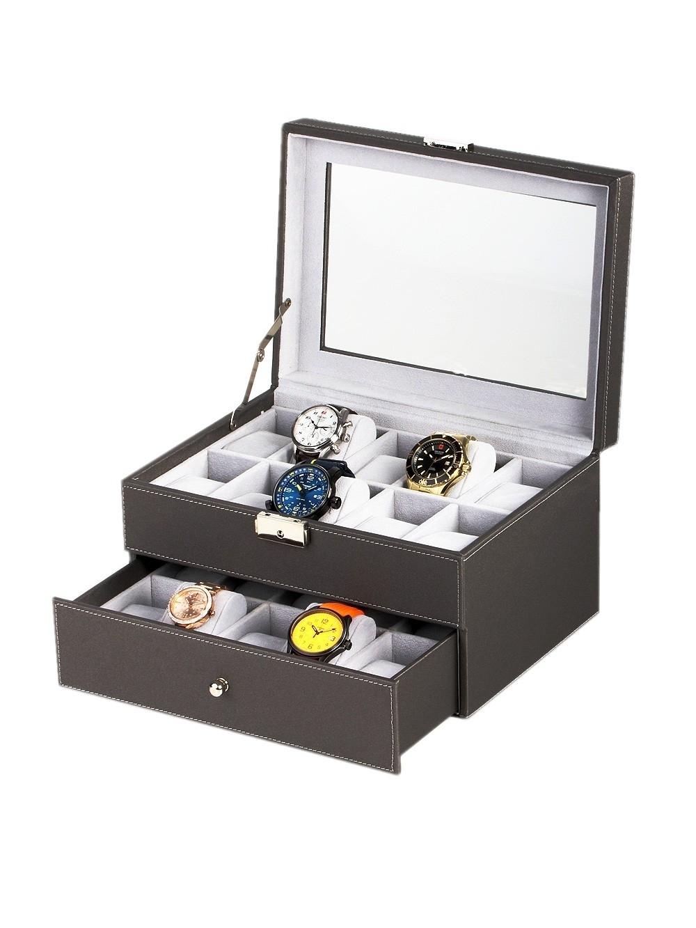 rothenschild uhrenbox rs-1683-20g für 20 uhren grey