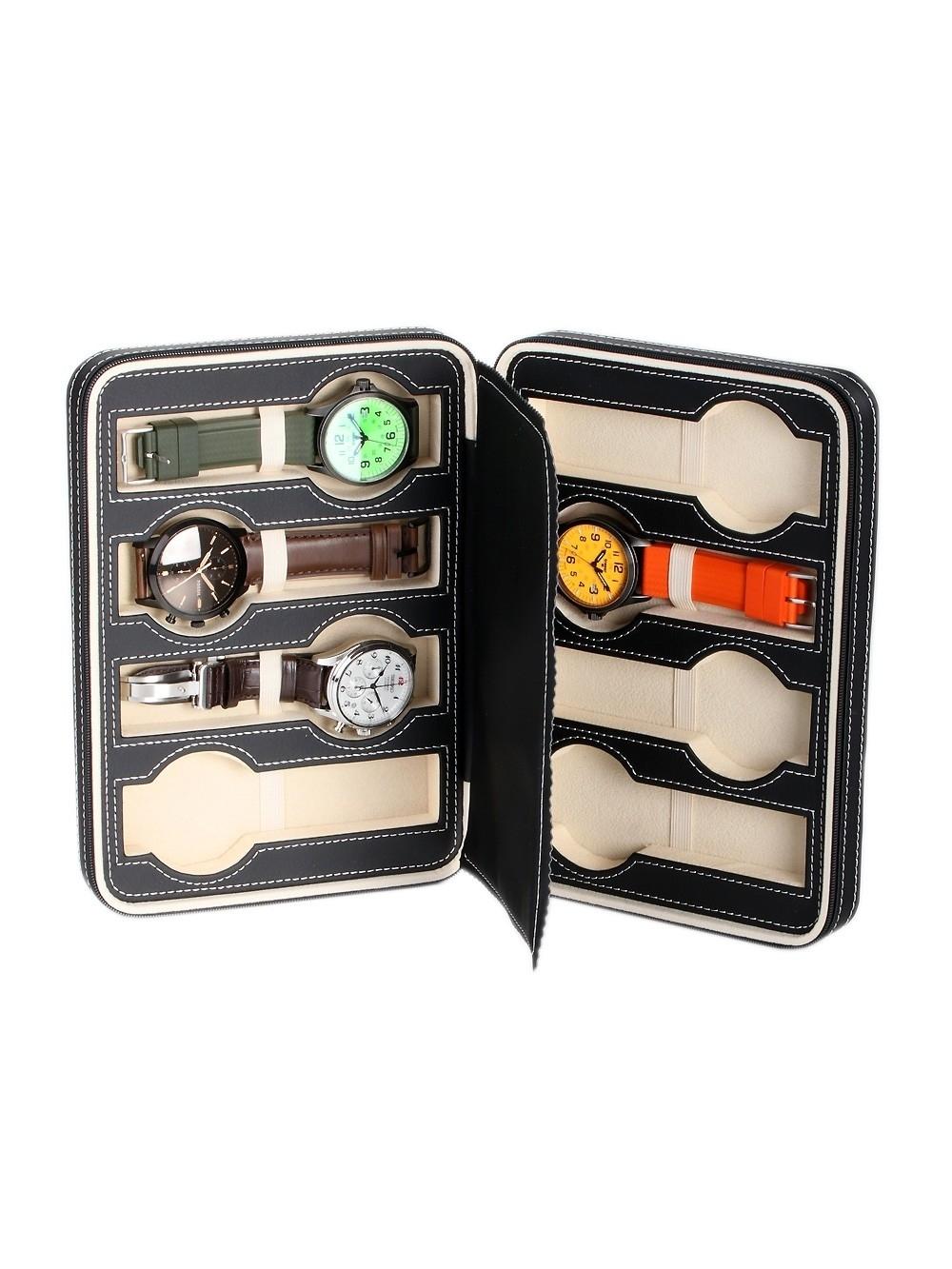 rothenschild reiseetui rs-3012-8bl für 8 uhren black