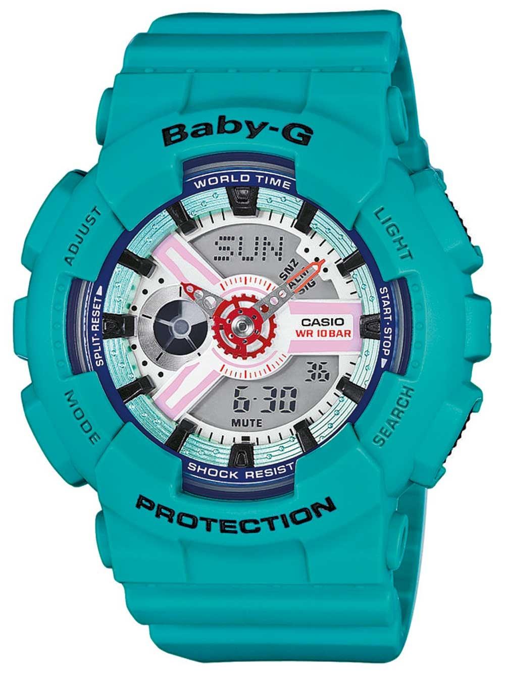 ceas de dama casio ba-110sn-3aer baby-g 43mm 10atm