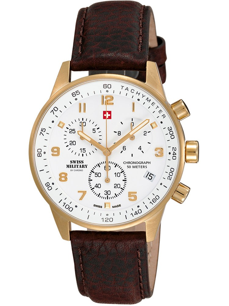 ceas barbatesc swiss military sm34012.07 cronograf 5 atm, 41 mm