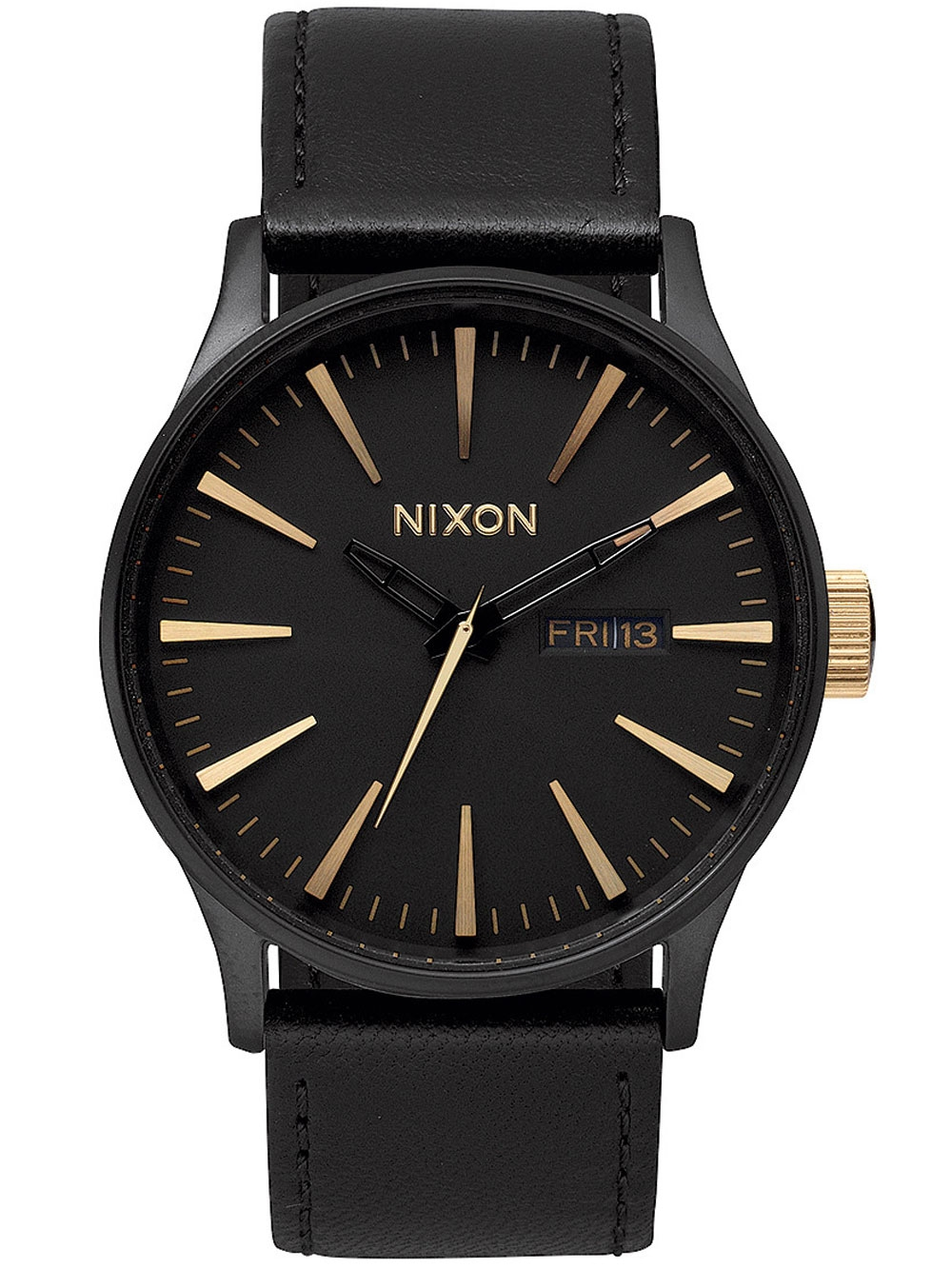 uhren chrono12 nixon a105 1041 sentry leather matte black gold 42mm 10atm. Black Bedroom Furniture Sets. Home Design Ideas