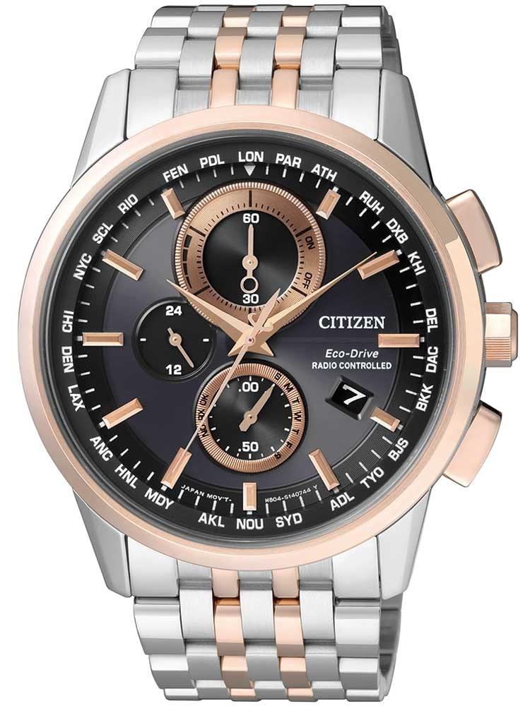 ceas barbatesc citizen eco-drive cu functii elegant at8116-65e 43mm 10atm