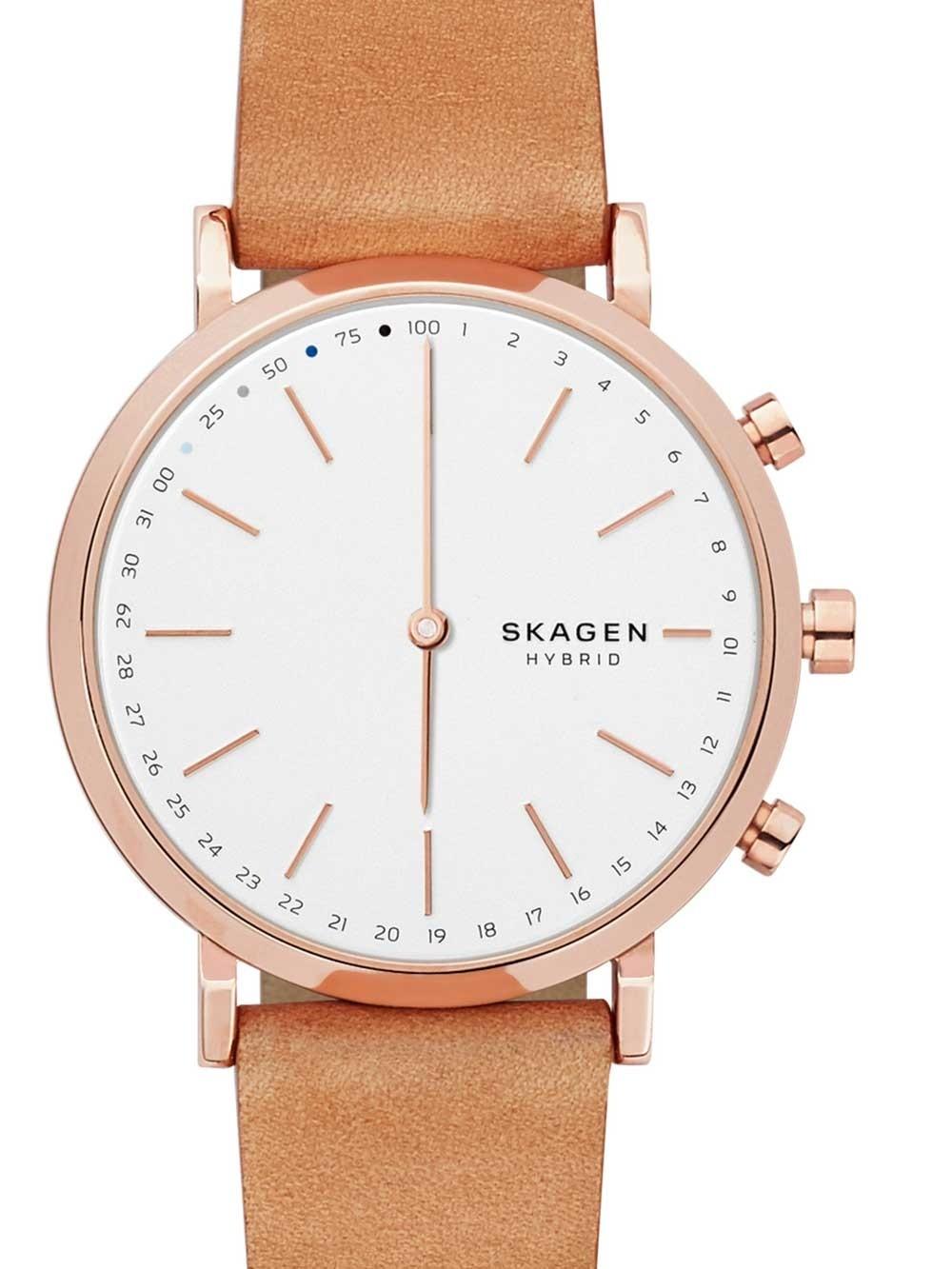 ceas unisex skagen skt1204 ca hald rose gold hybrid smartwatch 40mm 3atm
