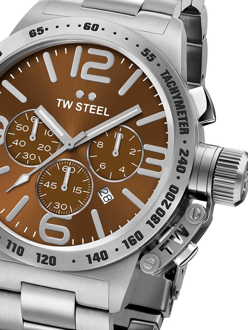ceas barbatesc tw-steel cb24 canteen bracelet cronograf 50mm 10atm