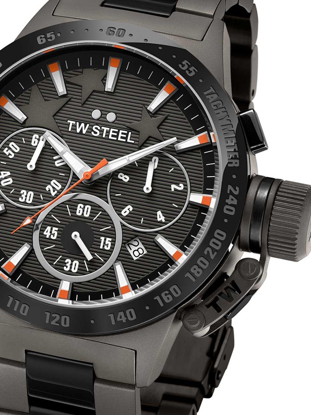 ceas barbatesc tw-steel tw313 canteen bracelet cronograf 45mm 10atm