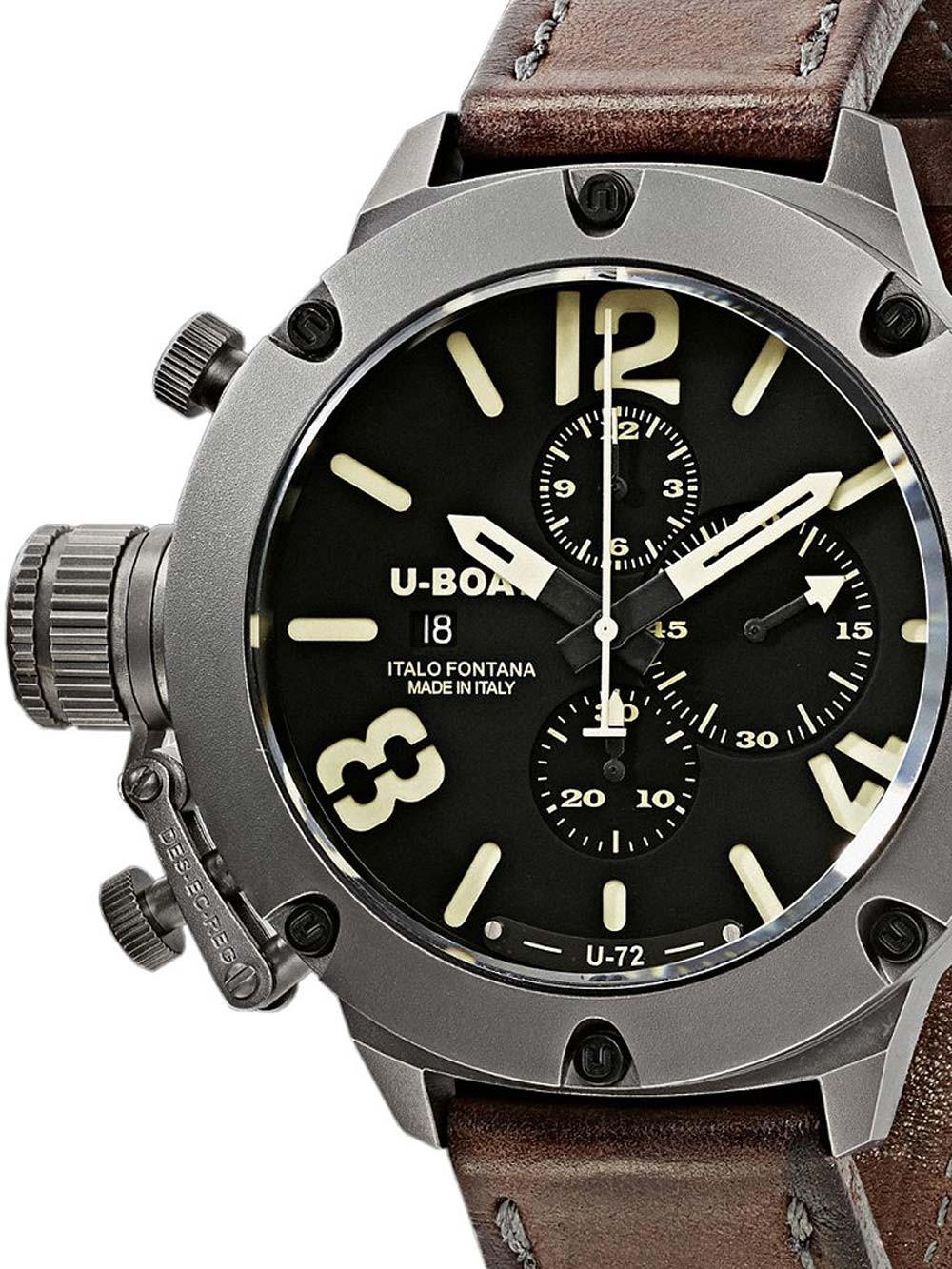 ceas barbatesc u-boat 6549/t classico 53mm titan autom. cronograf 200m