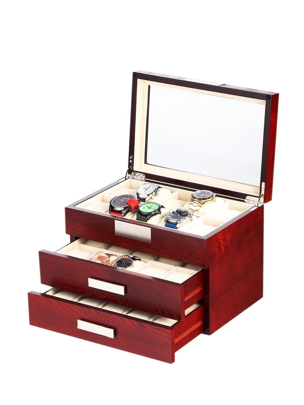 rothenschild uhrenbox rs-2350-30c für 30 uhren cherry