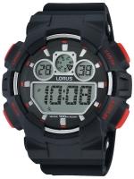 Ceas: Lorus R2333JX9 Digital-Chronograph Alarm schwarz rot 100M 50mm