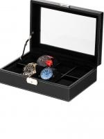Ceas: Cutie Piele Ecologica Negru & Sticla Rothenschild RS-3361-8BLBV Pentru 8 Ceasuri