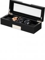 Ceas: Ceas Lemn Negru Rothenschild Uhrenbox RS-2350-5BL Pentru 5 Ceasuri
