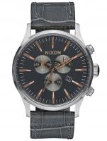 Ceas: Nixon A405-2145 Sentry Chrono Leather Gray Gator 42mm 10ATM