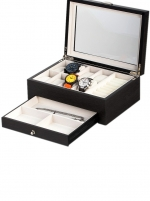 Ceas: Cutie lemn/sticla ceasuri + bijuterii Rothenschild RS-2271-GI pentru 8 ceasuri