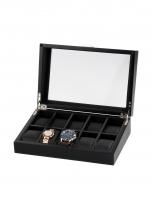 Ceas: Cutie Lemn - Sticla Rothenschild Negru RS-2375-10OAK Pentru 10 Ceasuri