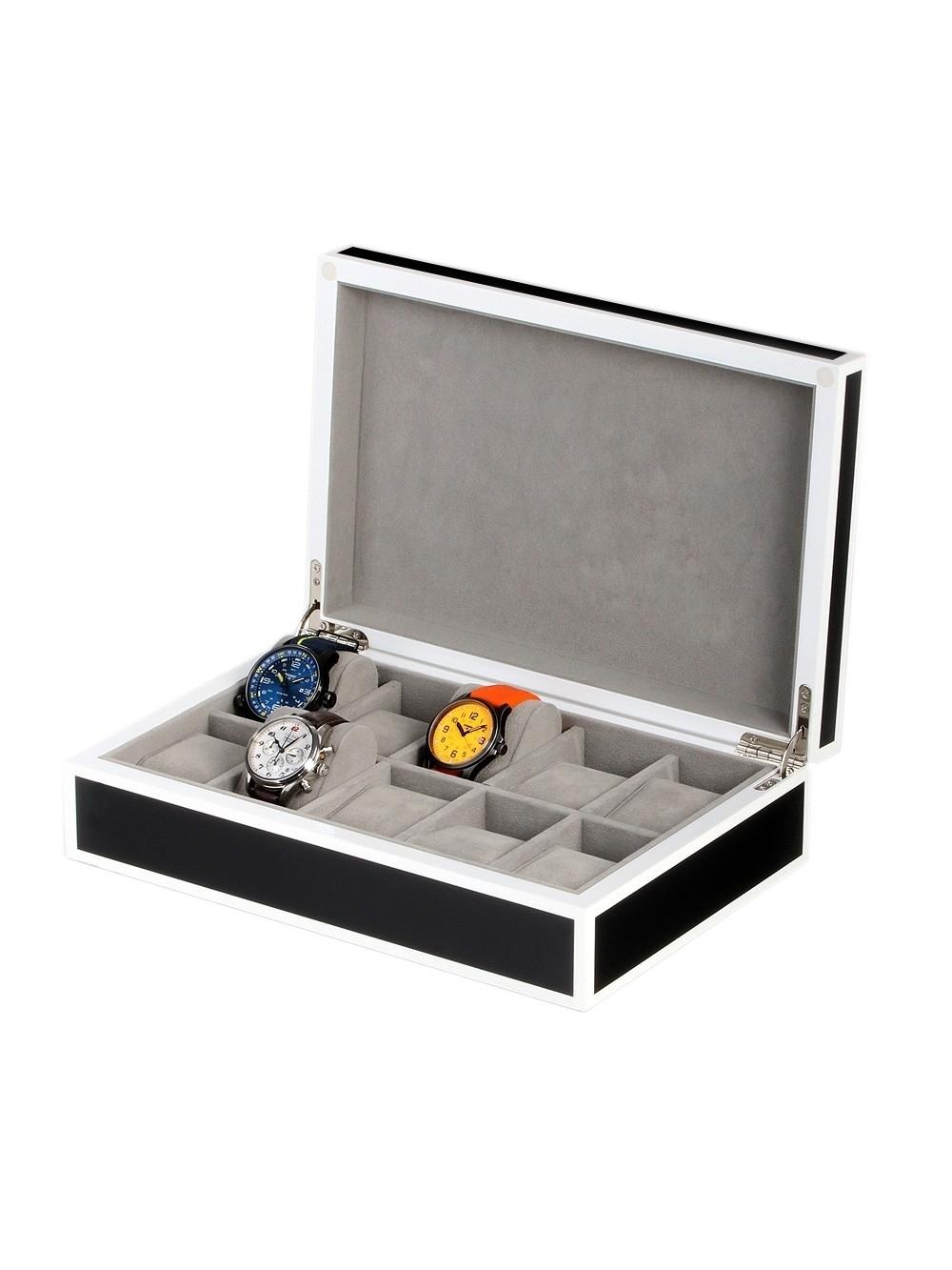 rothenschild uhrenbox rs-2330-10bl für 10 uhren black