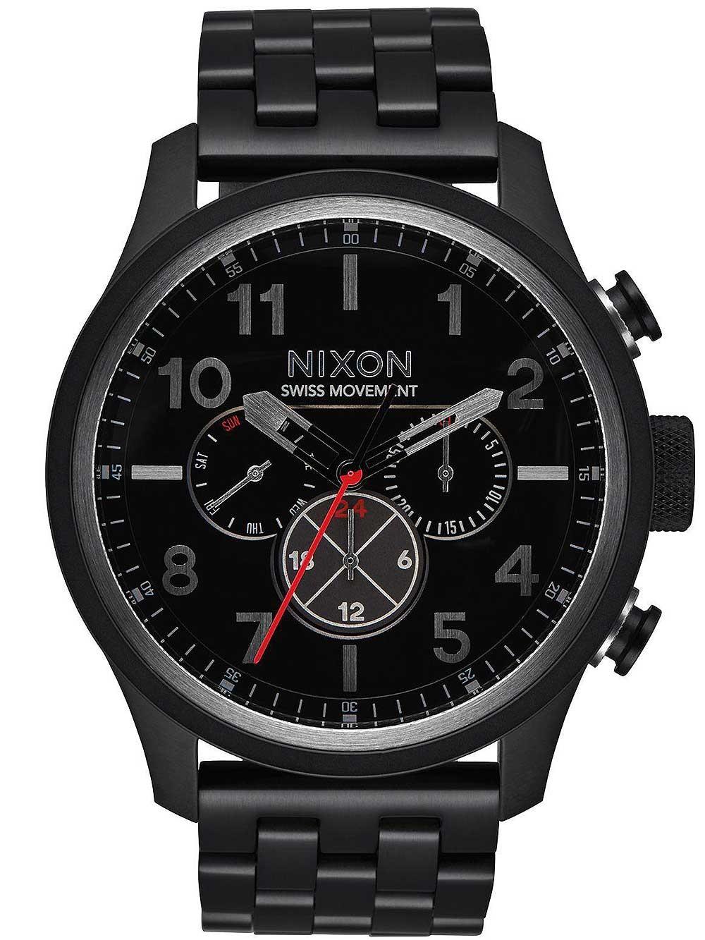 ceas barbatesc nixon a1081-001 safari dual-time 46mm 10atm