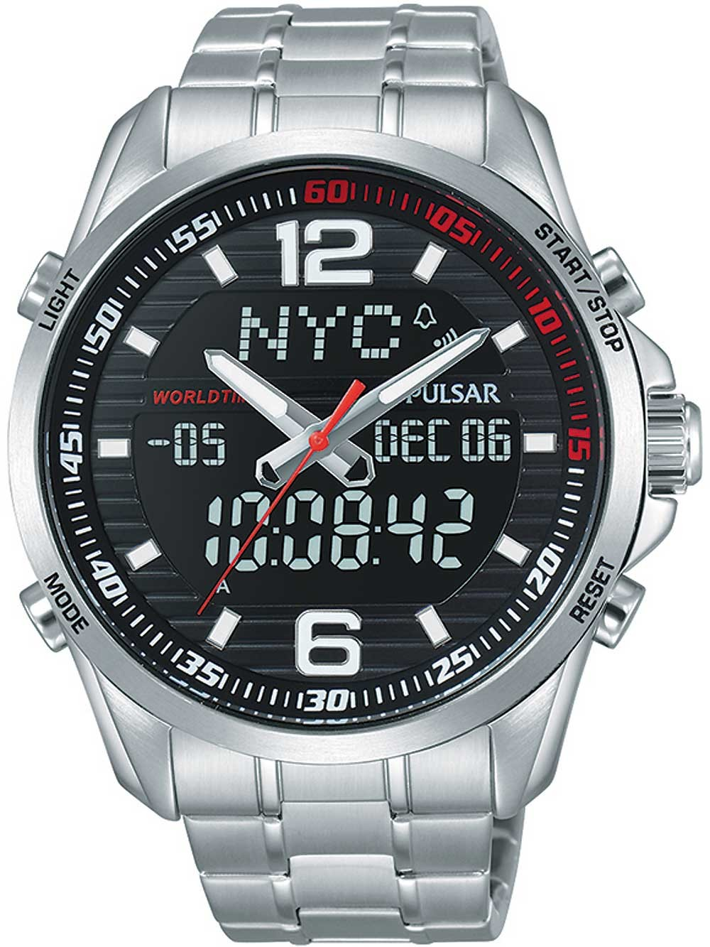 ceas barbatesc pulsar pz4001x1 ana-digi 45mm 10atm