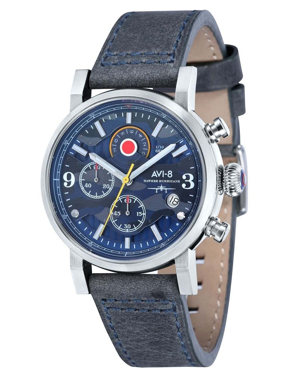 ceas barbatesc avi-8 av-4041-07 hawker hurricane chrono. 43mm 5atm