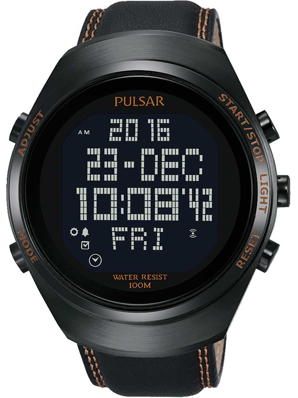 ceas barbatesc pulsar pq2063x1 digital 46mm 10atm